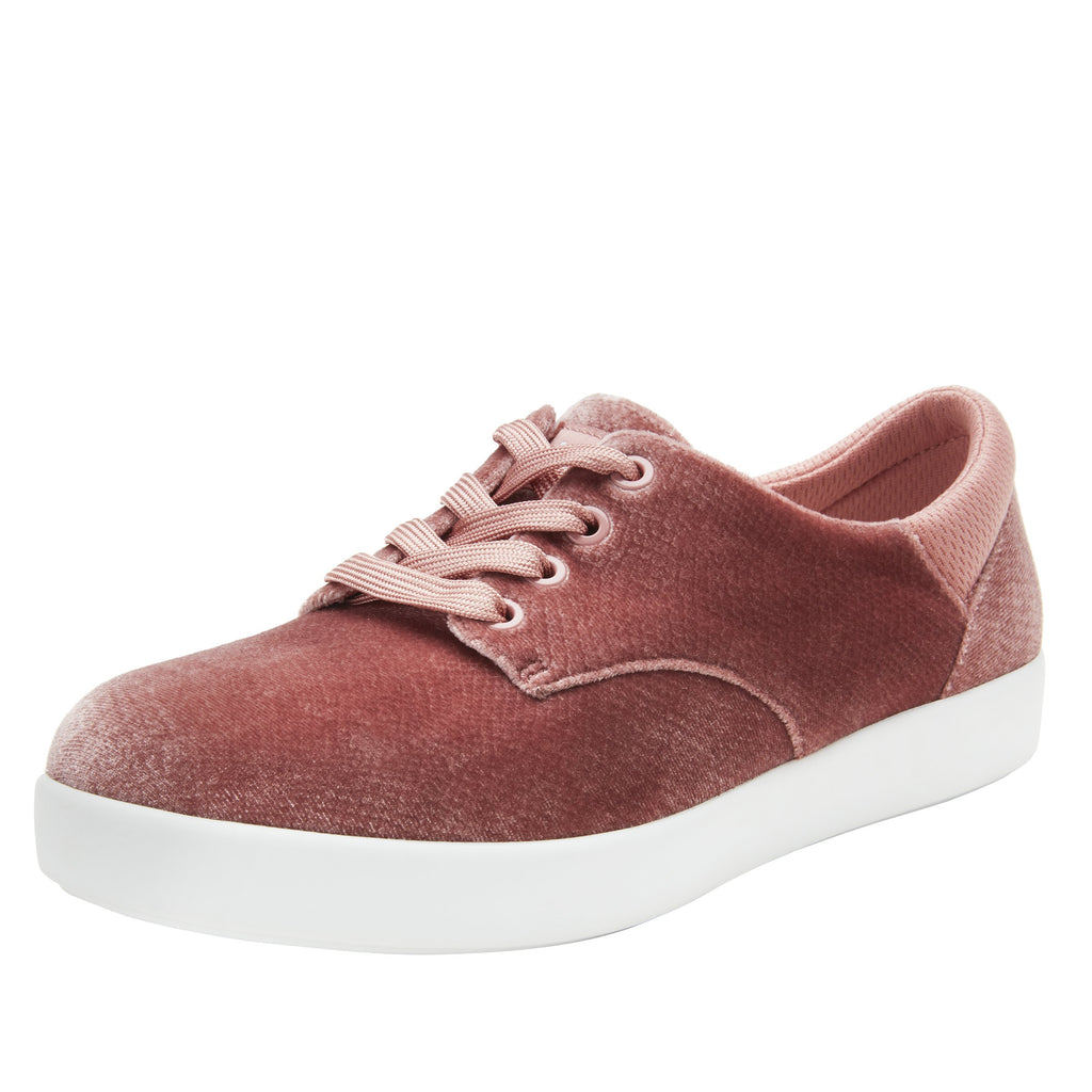 Poly Blush Velvet Snake casual shoe on Comfort Athleisure outsole, with stain-guarded vegan textile upper for added flair.  POL-7905_S1