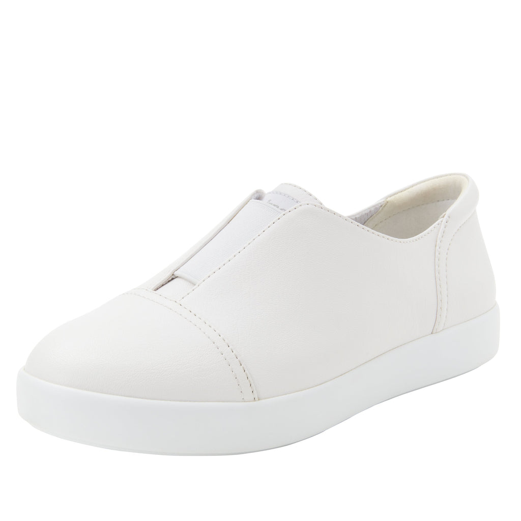 Posy White Nappa slip-on shoe  on the Comfort Athleisure outsole, a fashionable choice for your outfit of the day.  POS-7907_S1