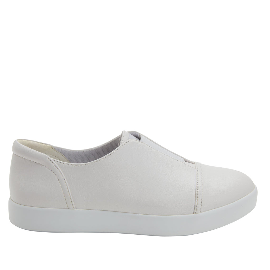 Posy White Nappa slip-on shoe  on the Comfort Athleisure outsole, a fashionable choice for your outfit of the day.  POS-7907_S2