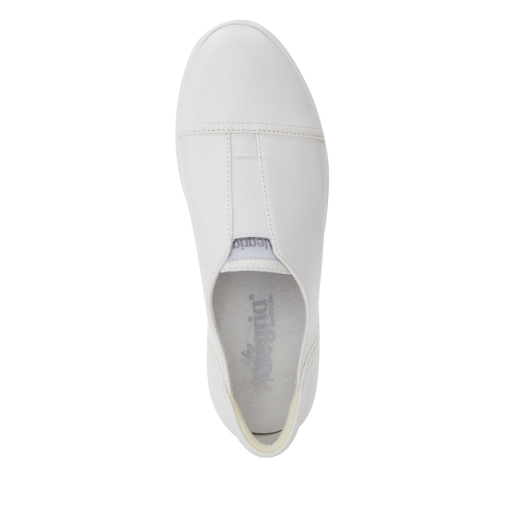 Posy White Nappa slip-on shoe  on the Comfort Athleisure outsole, a fashionable choice for your outfit of the day.  POS-7907_S4