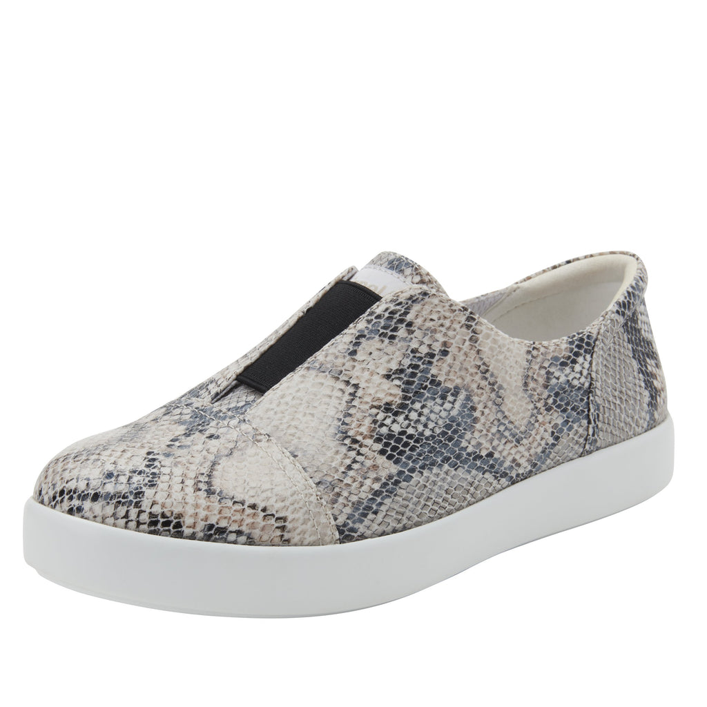 Posy Natural Snake slip-on shoe  on the Comfort Athleisure outsole, a fashionable choice for your outfit of the day.  POS-7909_S1