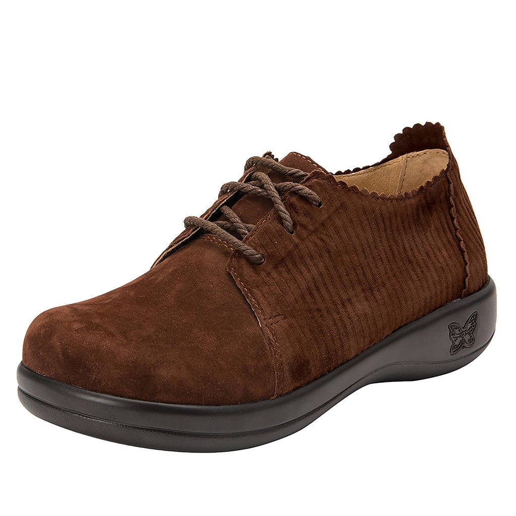 Pyper Capt Corduroy Brown lace up style shoe with embossed corduroy detailing - PYP-196_S1