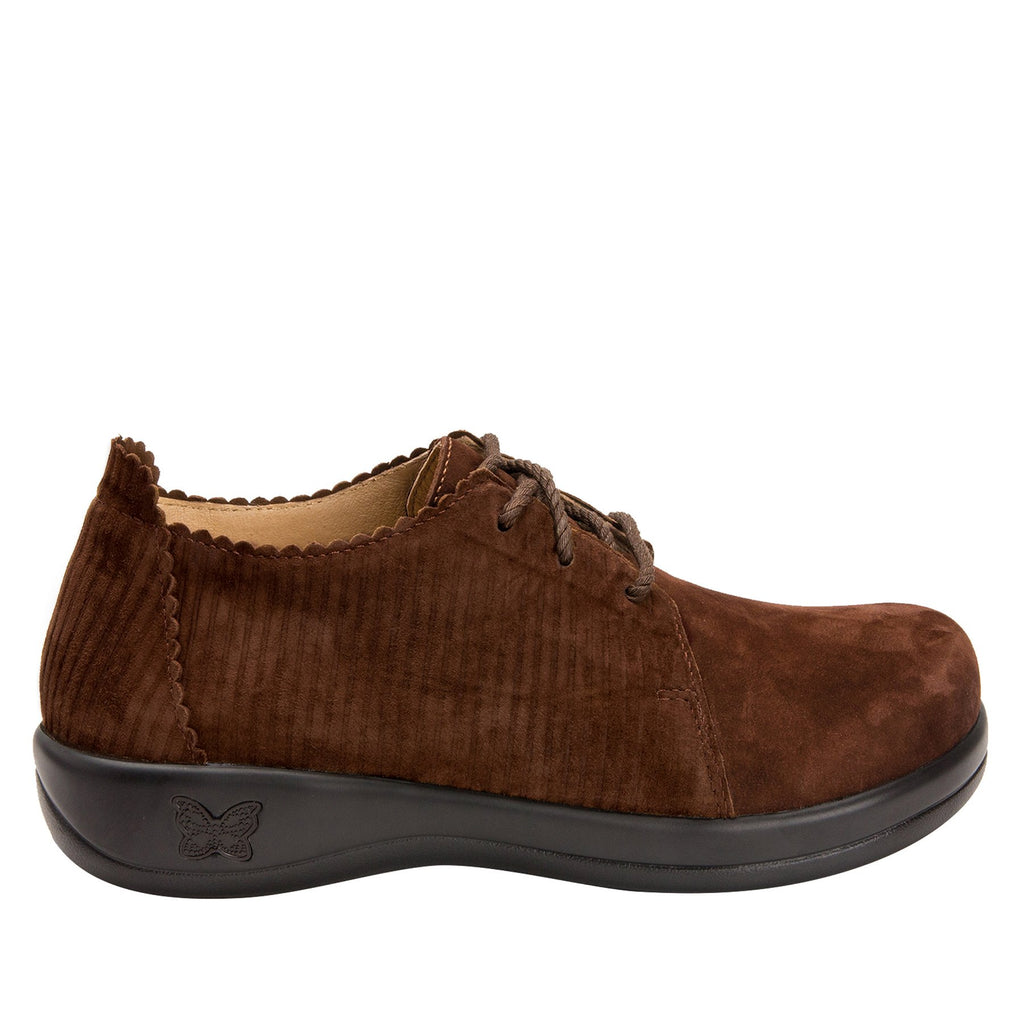 Pyper Capt Corduroy Brown lace up style shoe with embossed corduroy detailing - PYP-196_S2
