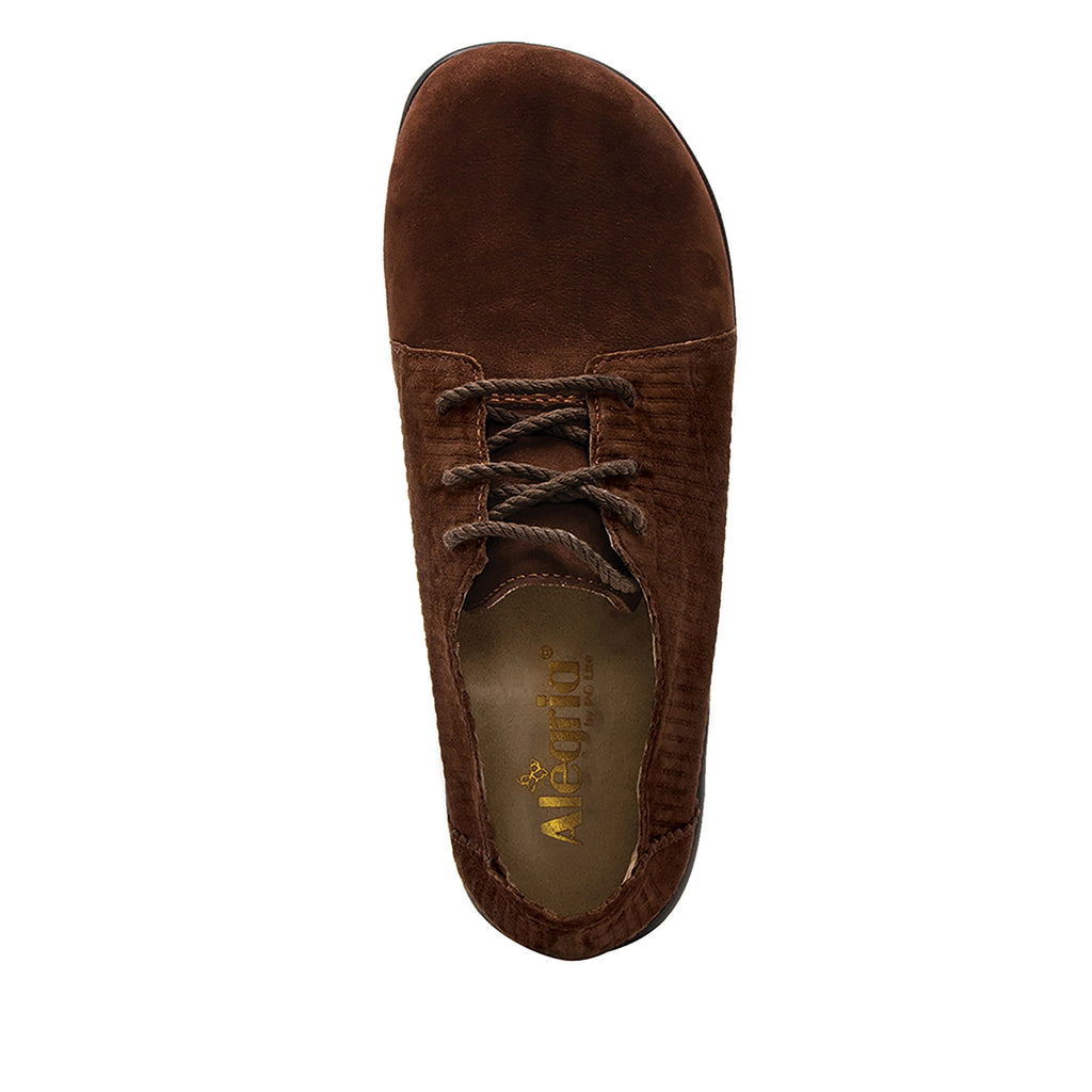 Pyper Capt Corduroy Brown lace up style shoe with embossed corduroy detailing - PYP-196_S4