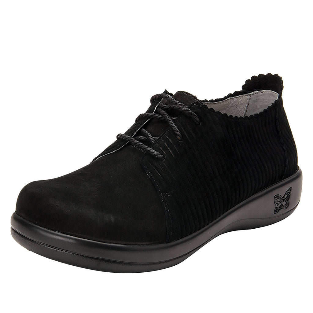 Pyper Capt Corduroy Black lace up style shoe with embossed corduroy detailing - PYP-197_S1