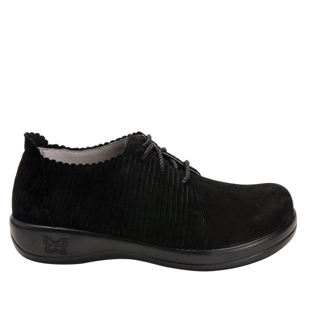 Pyper Capt Corduroy Black lace up style shoe with embossed corduroy detailing - PYP-197_S2