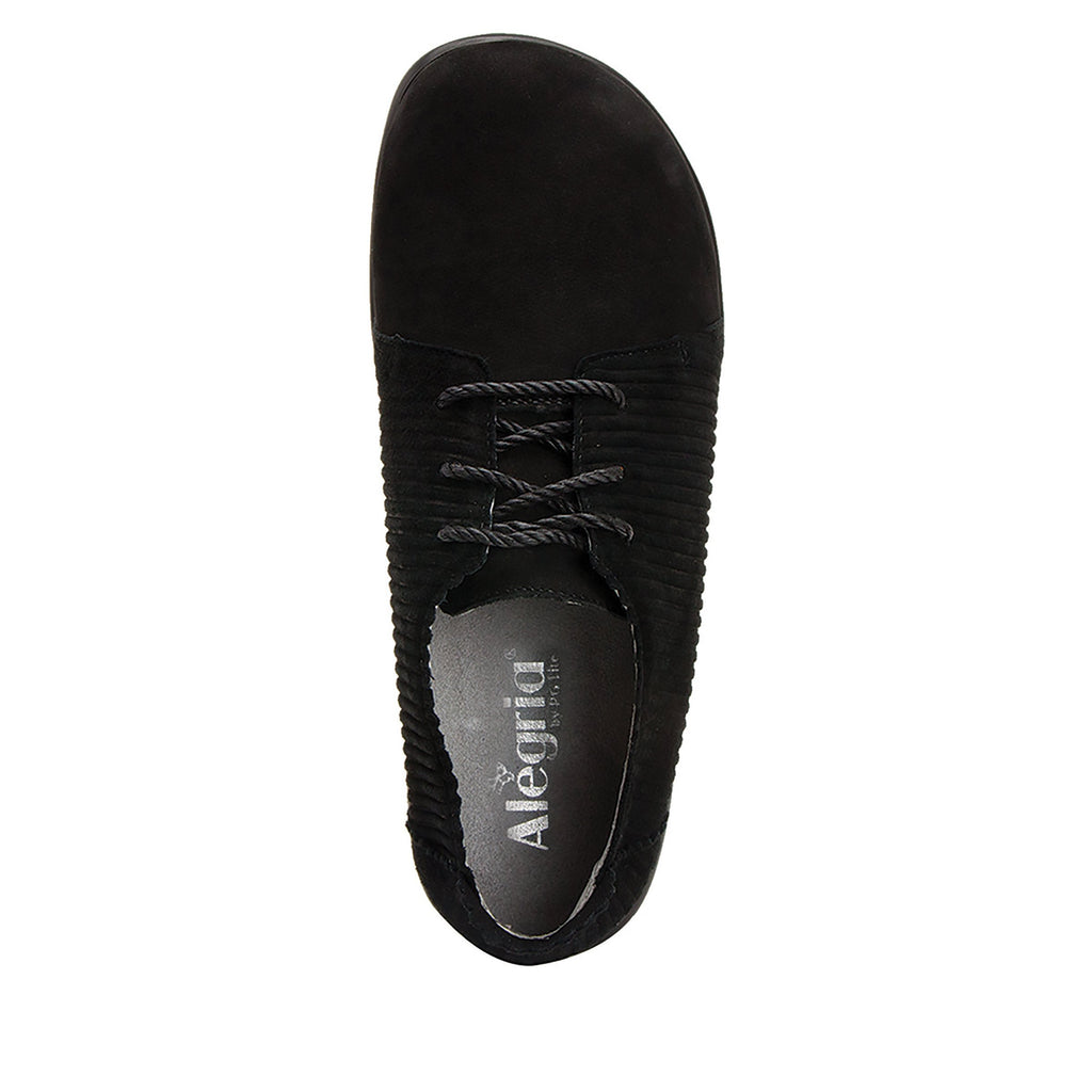 Pyper Capt Corduroy Black lace up style shoe with embossed corduroy detailing - PYP-197_S4 (4270832713782)