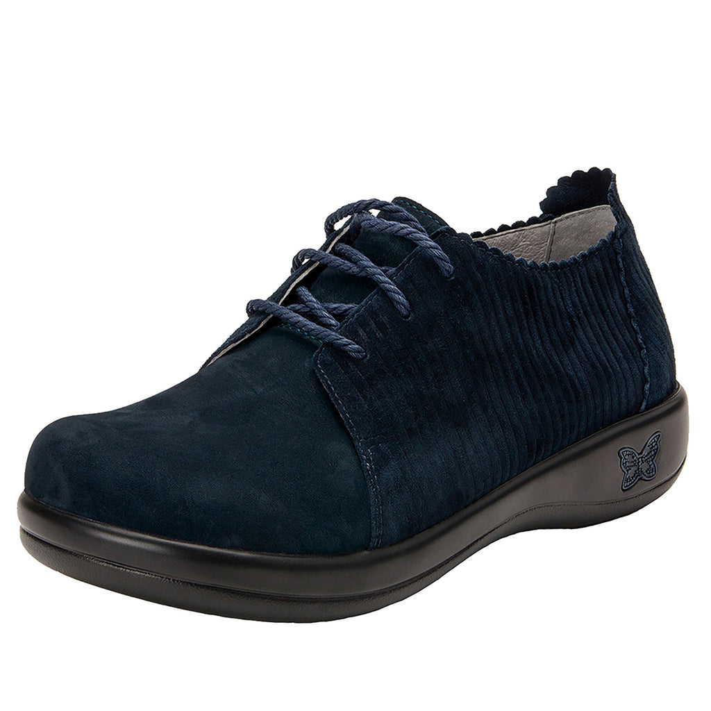 Pyper Capt Corduroy Navy lace up style shoe with embossed corduroy detailing - PYP-198_S1 (4270833041462)