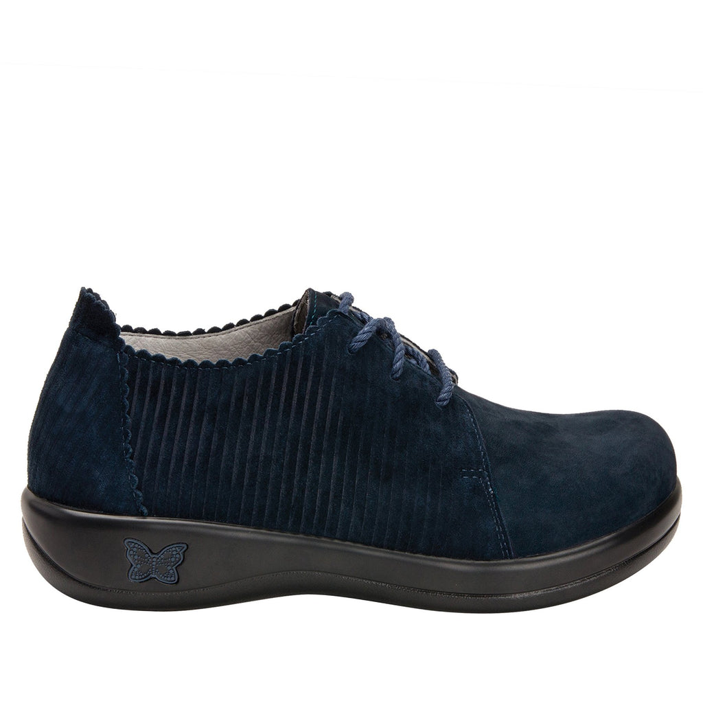 Pyper Capt Corduroy Navy lace up style shoe with embossed corduroy detailing - PYP-198_S2