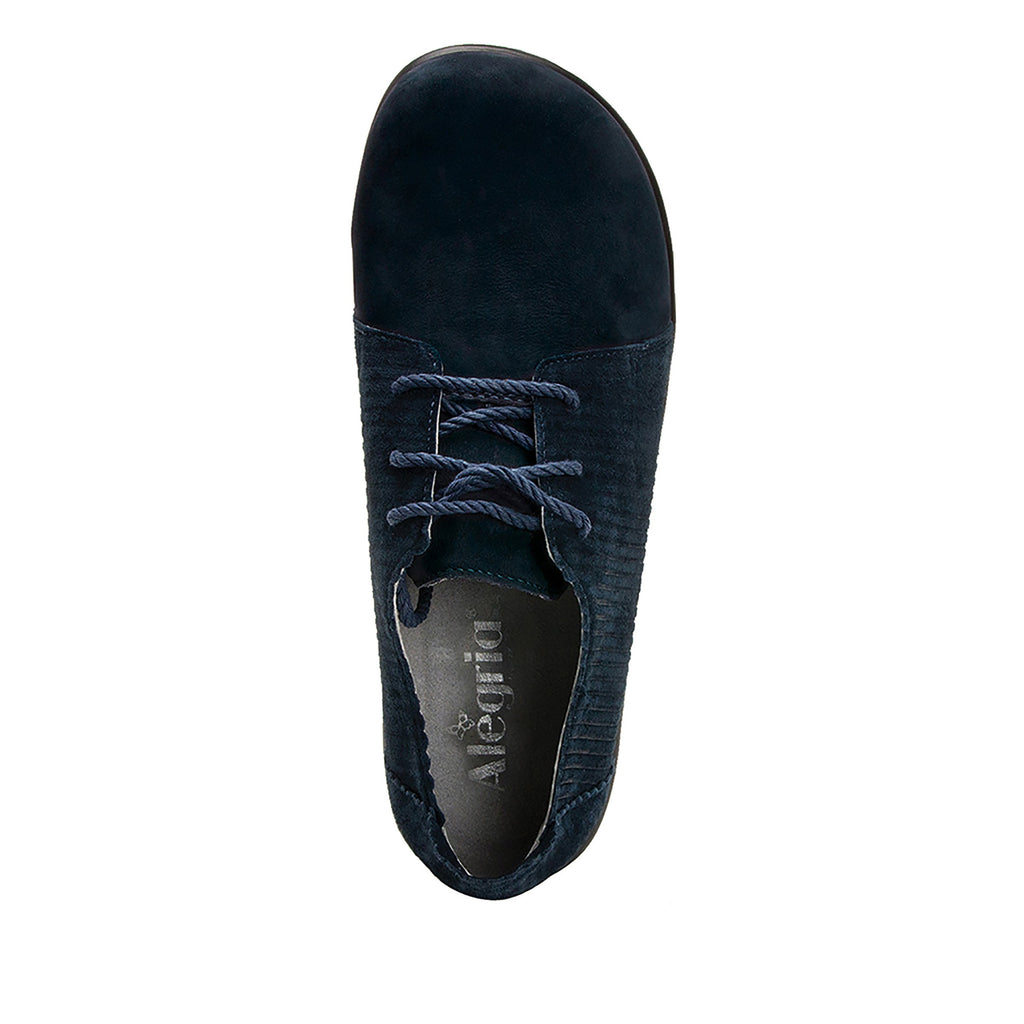 Pyper Capt Corduroy Navy lace up style shoe with embossed corduroy detailing - PYP-198_S4 (4270833041462)