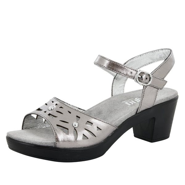 Reese Uptown Pewter Sandal - Alegria Shoes - 1