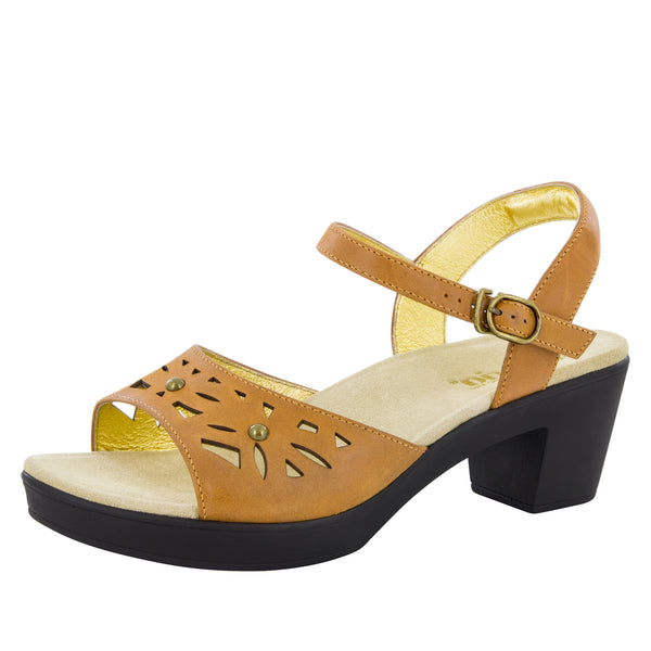 Reese Cognac Burnish Sandal - Alegria Shoes - 1