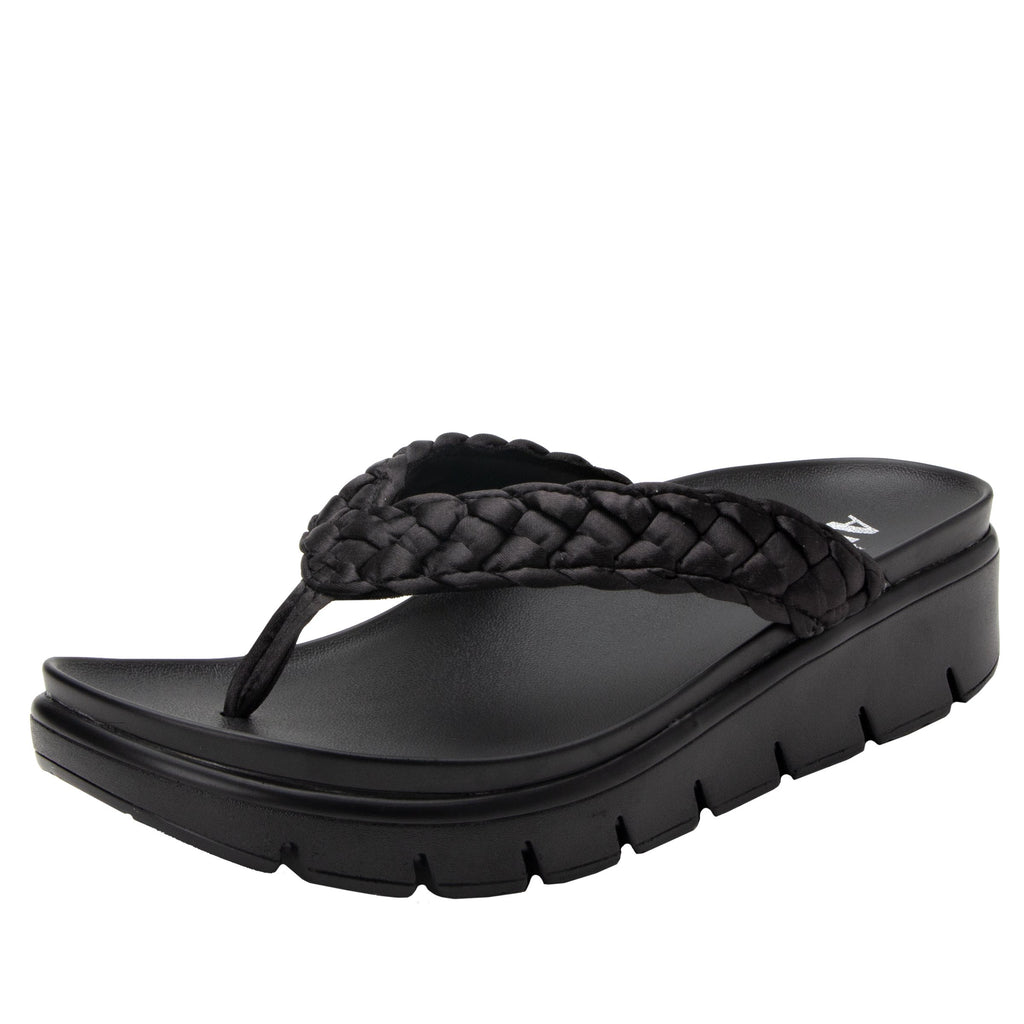 Riz Black thong sandal with vegan braided upper - RIZ-101_S1