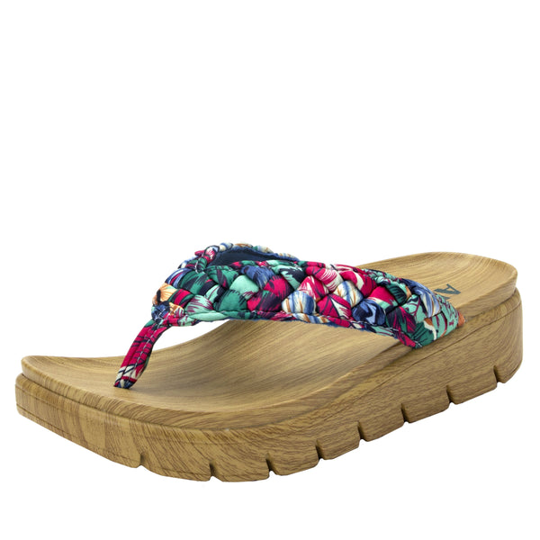 Riz Blue Multi thong sandal with vegan braided upper - RIZ-786_S1