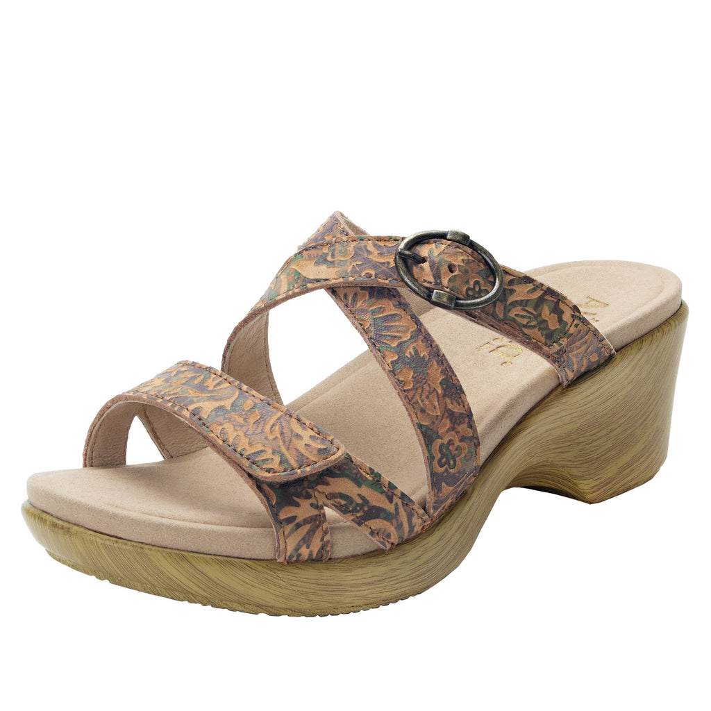 Roux Country Road strappy slip on sandal on comfort wedge outsole - ALG-ROU-166_S1