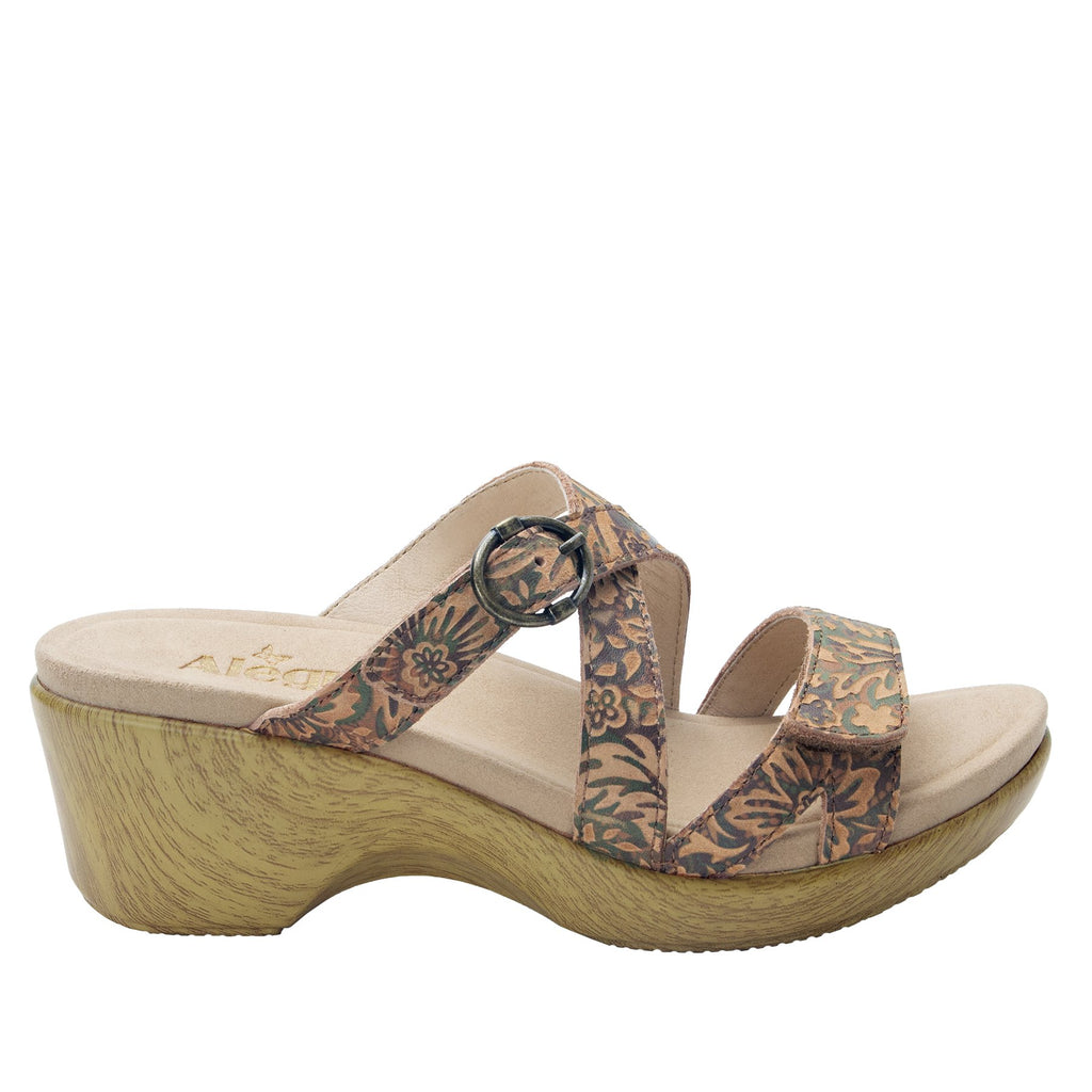 Roux Country Road strappy slip on sandal on comfort wedge outsole - ALG-ROU-166_S2