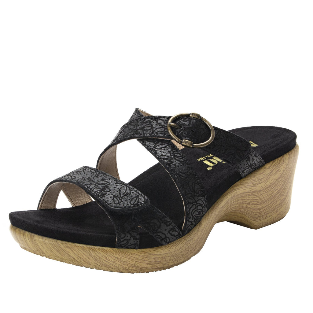 Roux Finely strappy slip on sandal on comfort wedge outsole - ALG-ROU-495_S1