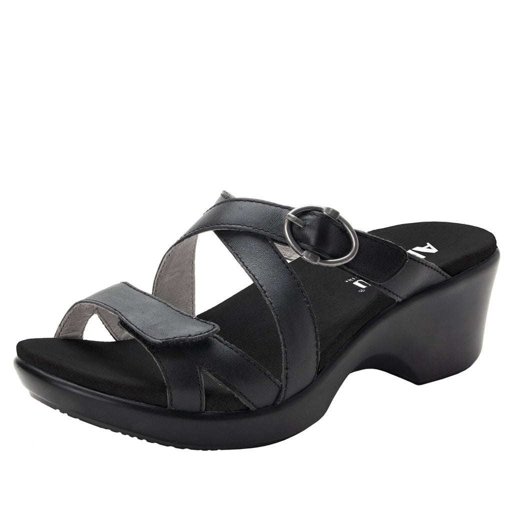 Roux Black strappy slip on sandal on comfort wedge outsole - ALG-ROU-601_S1