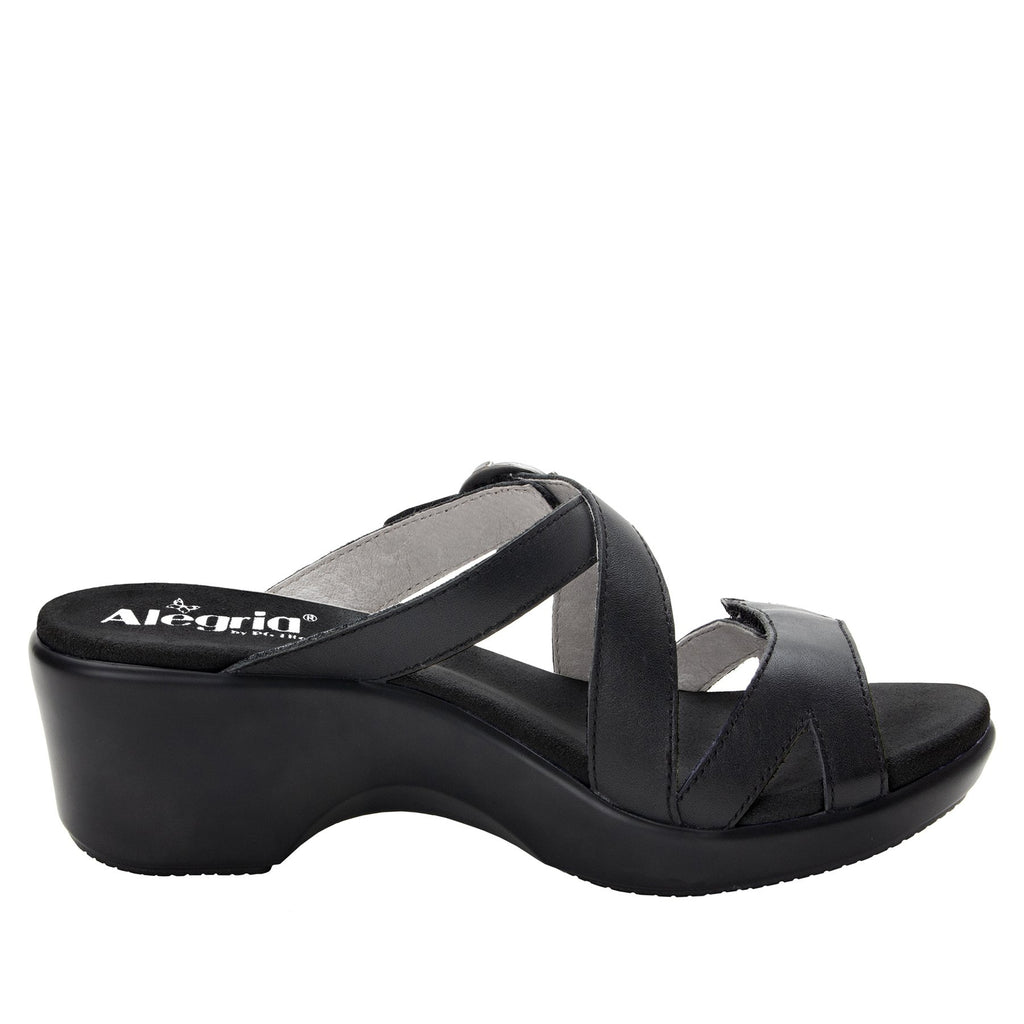 Roux Black strappy slip on sandal on comfort wedge outsole - ALG-ROU-601_S2