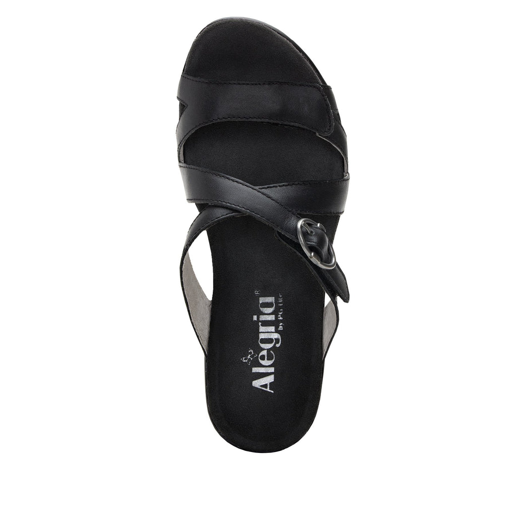 Roux Black strappy slip on sandal on comfort wedge outsole - ALG-ROU-601_S4