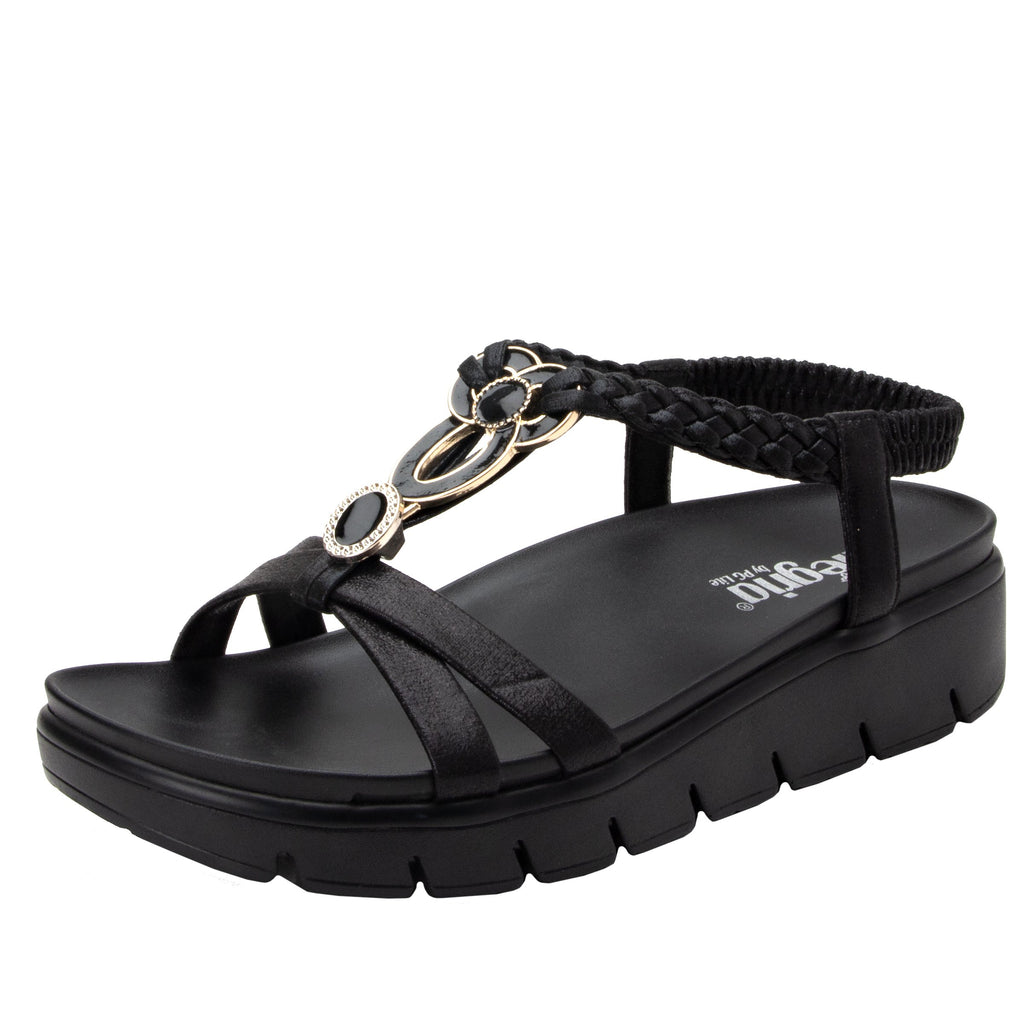 Roz Black t-strap sandal with vegan uppers and decorative hardware - ROZ-101_S1