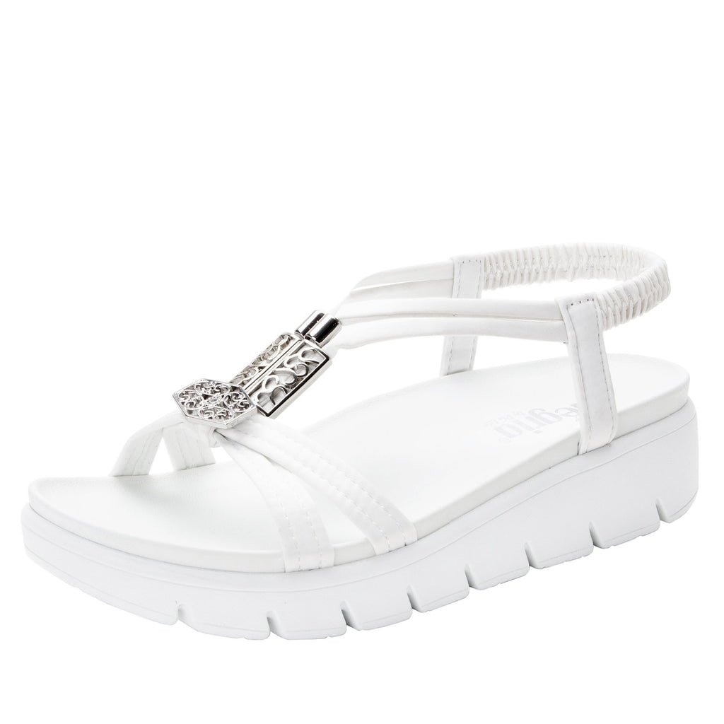 Roz White t-strap sandal with vegan uppers and decorative hardware - ROZ-109_S1