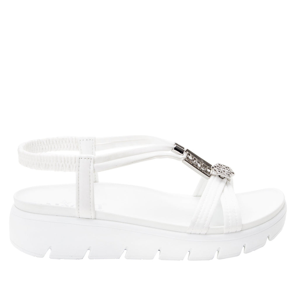 Roz White t-strap sandal with vegan uppers and decorative hardware - ROZ-109_S2