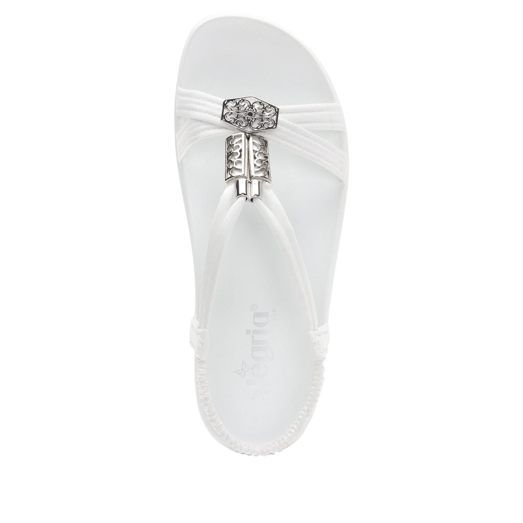Roz White t-strap sandal with vegan uppers and decorative hardware - ROZ-109_S5
