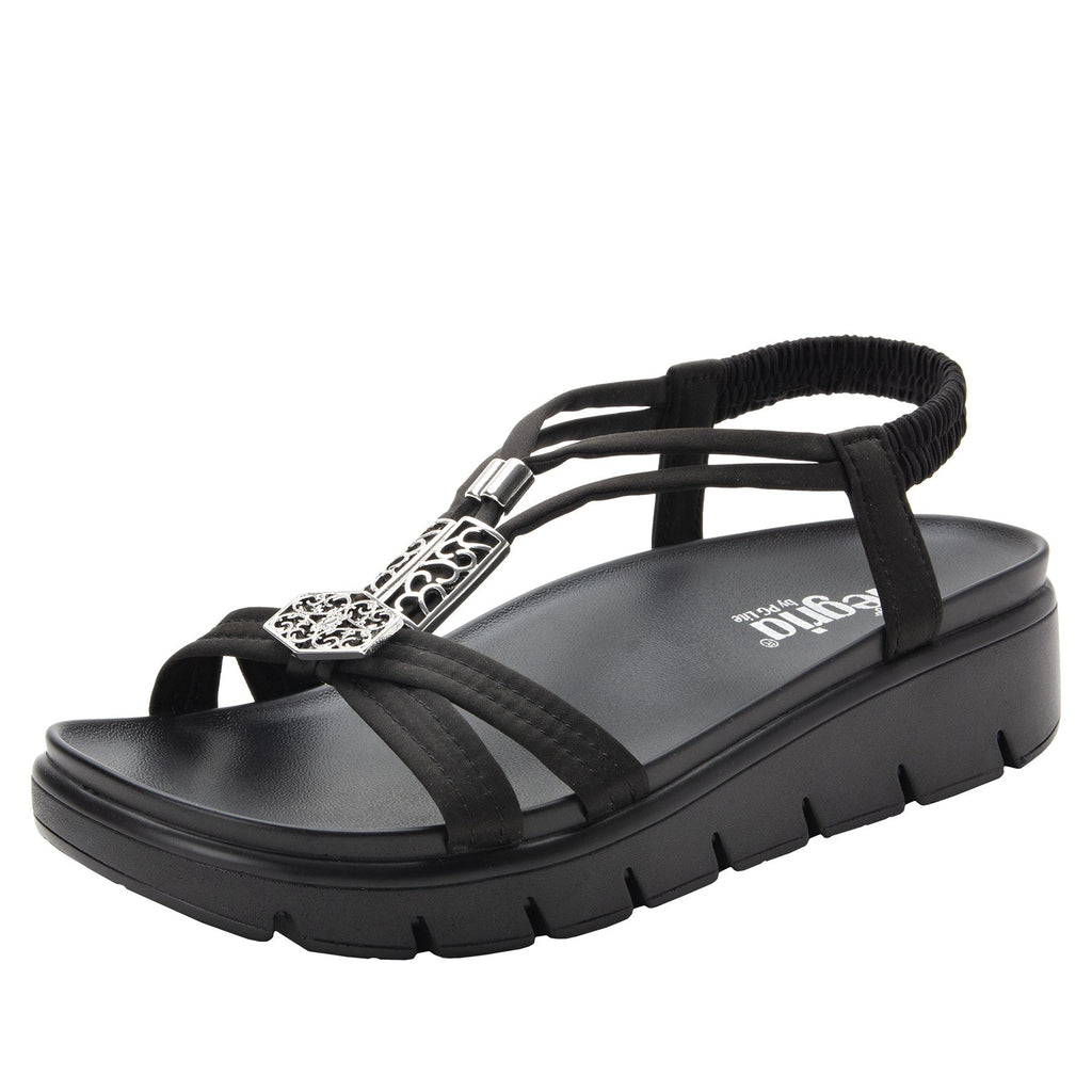Roz Black Silver t-strap sandal with vegan uppers and decorative hardware - ROZ-111_S1