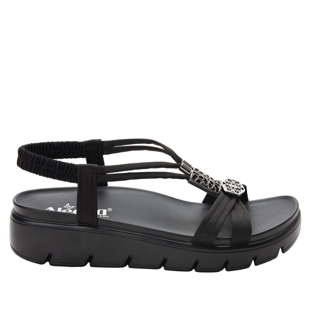 Roz Black Silver t-strap sandal with vegan uppers and decorative hardware - ROZ-111_S2