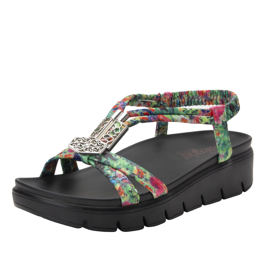 Roz Itchycoo Red t-strap sandal with vegan uppers and decorative hardware - ROZ-7766_S1