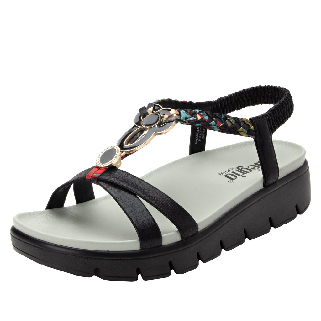 Roz Black Multi t-strap sandal with vegan uppers and decorative hardware - ROZ-788_S1