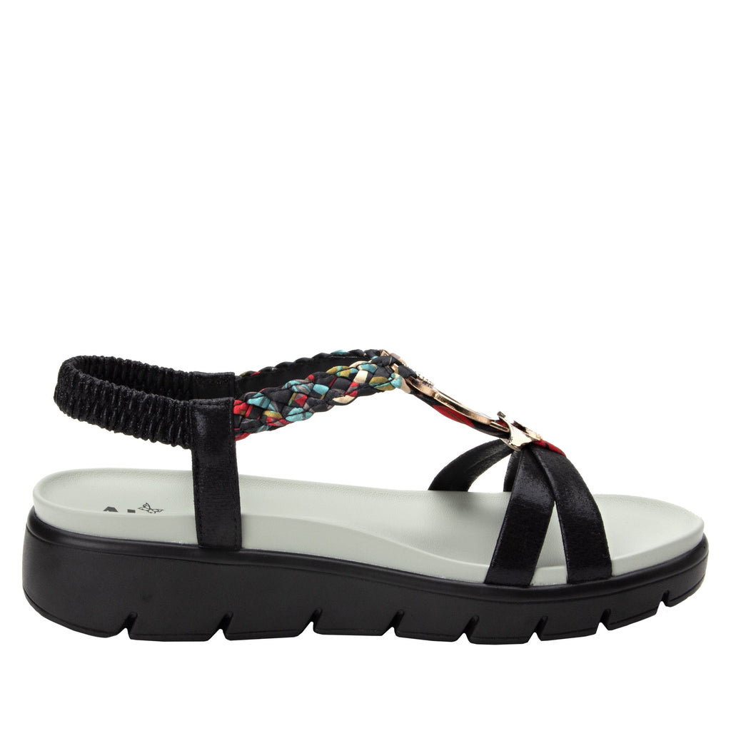 Roz Black Multi t-strap sandal with vegan uppers and decorative hardware - ROZ-788_S2