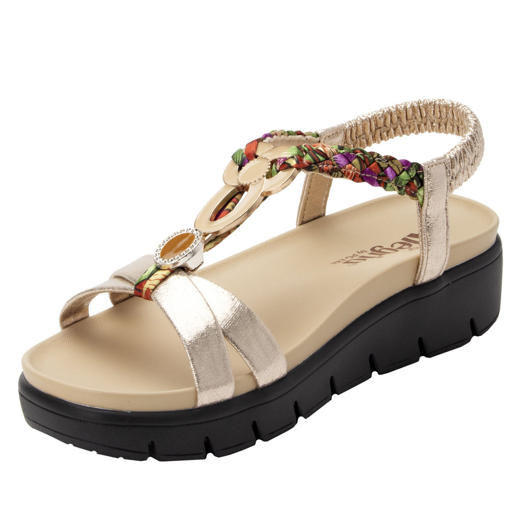 Roz Gold Multi t-strap sandal with vegan uppers and decorative hardware - ROZ-789_S1