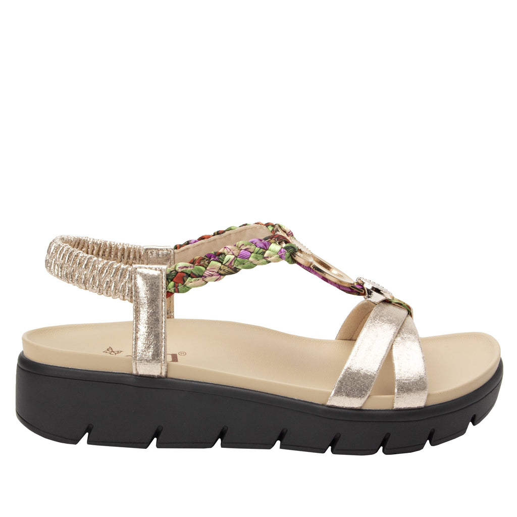 Roz Gold Multi t-strap sandal with vegan uppers and decorative hardware - ROZ-789_S2 (2077450862646)