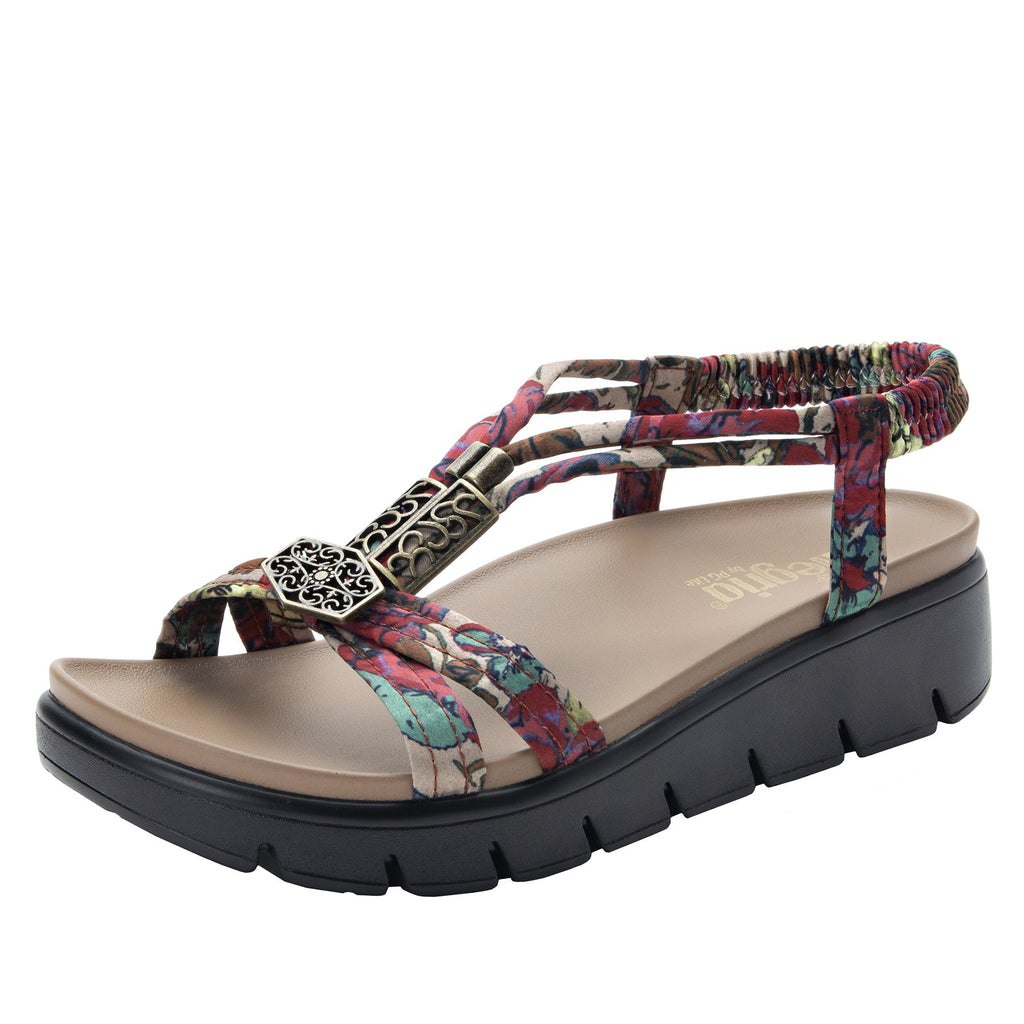 Roz Get Away Tan t-strap sandal with vegan uppers and decorative hardware - ROZ-952_S1