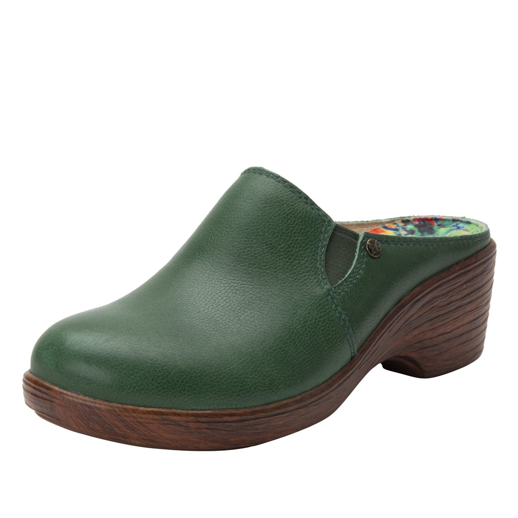 Serenity Aged Jade clog on a wood look wedge outsole - SER-7738_S1