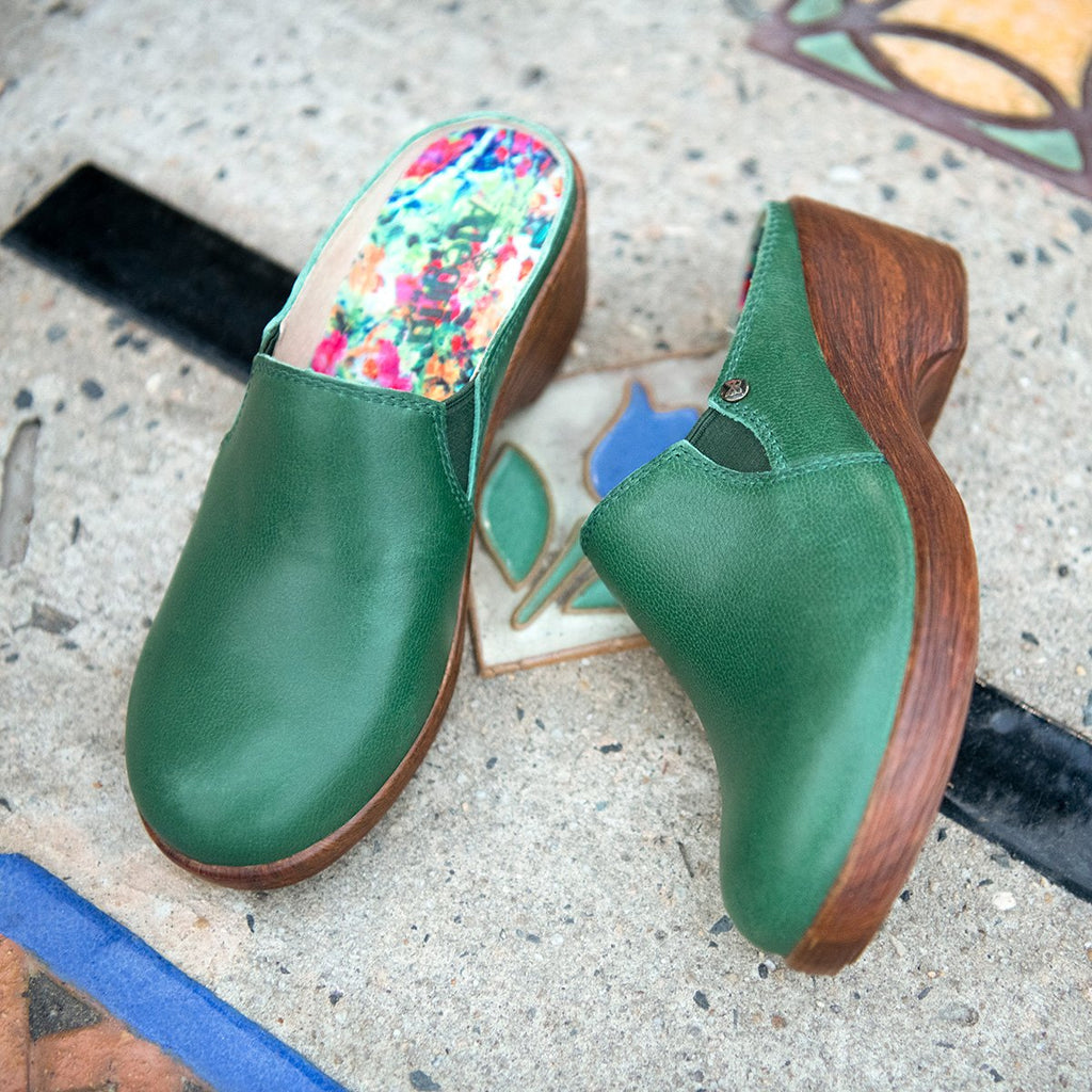 Serenity Aged Jade clog on a wood look wedge outsole - SER-7738_S2