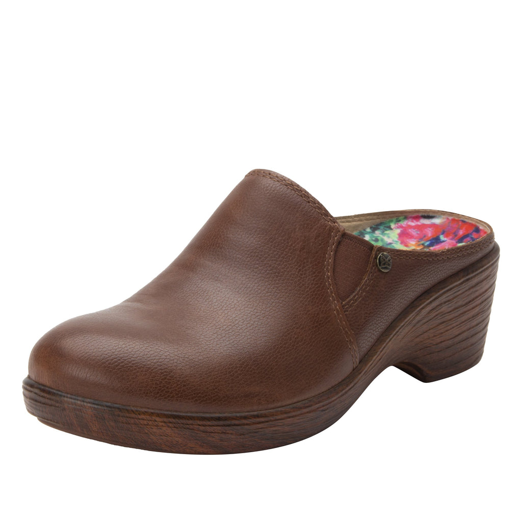 Serenity Aged Cognac clog on a wood look wedge outsole - SER-7739_S1