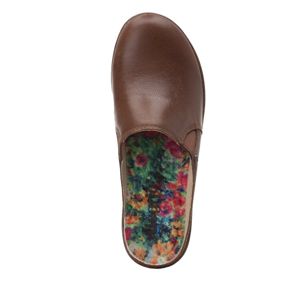Serenity Aged Cognac clog on a wood look wedge outsole - SER-7739_S5