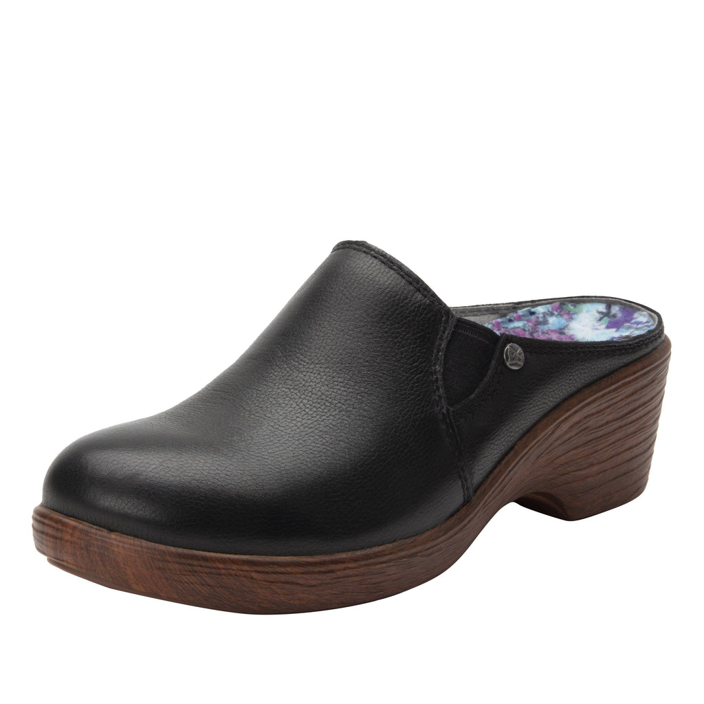 Serenity Obsidian clog on a wood look wedge outsole - SER-7741_S1