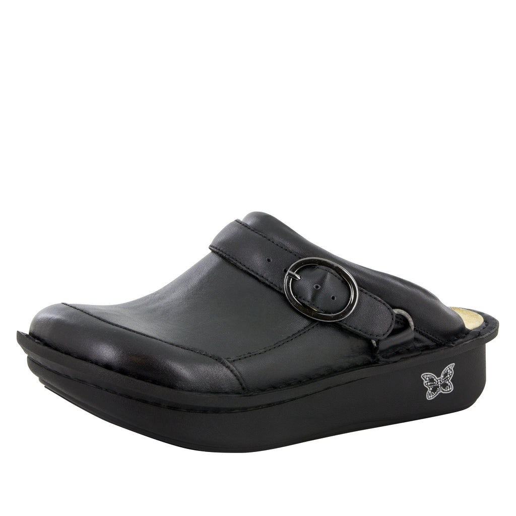 Seville Black Nappa Clog - Alegria Shoes