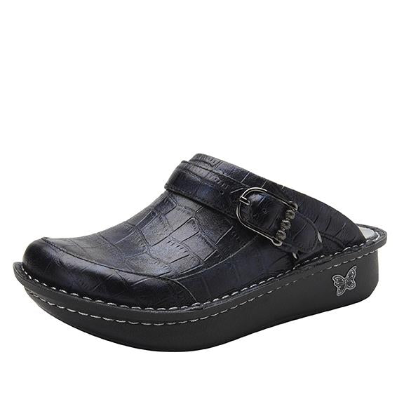 Seville Croco Noche Clog with versatile swivel strap on Classic Rocker - SEV-7815_S1
