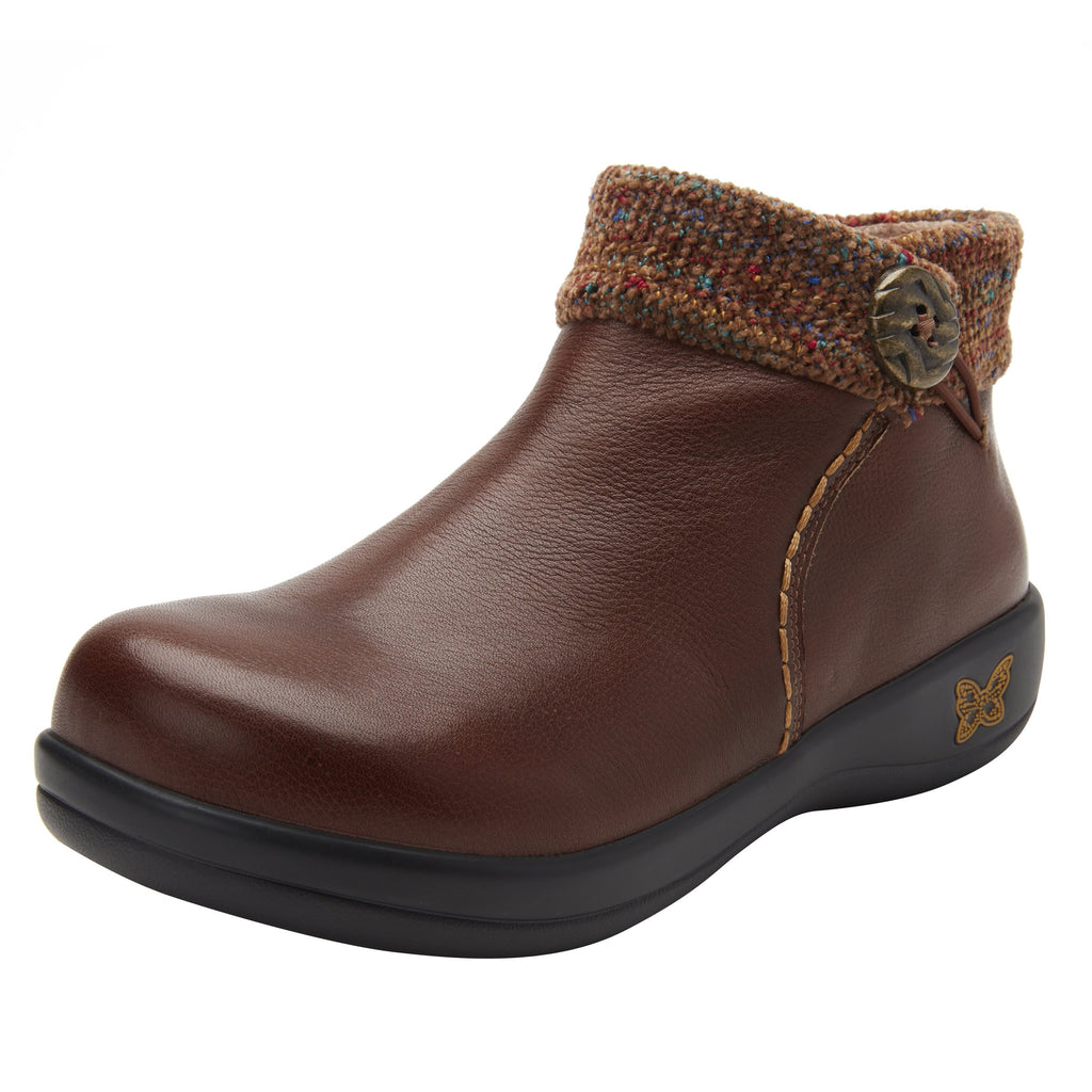 Sitka Brown Bootie on Career Casual with contrast knited collar and warm linings for cooler weather. SIT-7858_S1