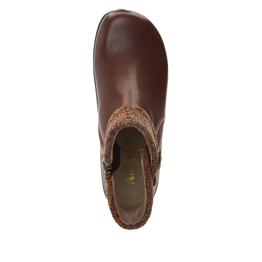 Sitka Brown Bootie on Career Casual with contrast knited collar and warm linings for cooler weather. SIT-7858_S4