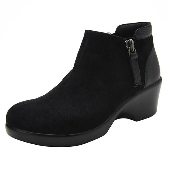 Sloan fashionable bootie on career fashion wedge in Black Suede with Dream Fit™ upper - SLO-7922_S1