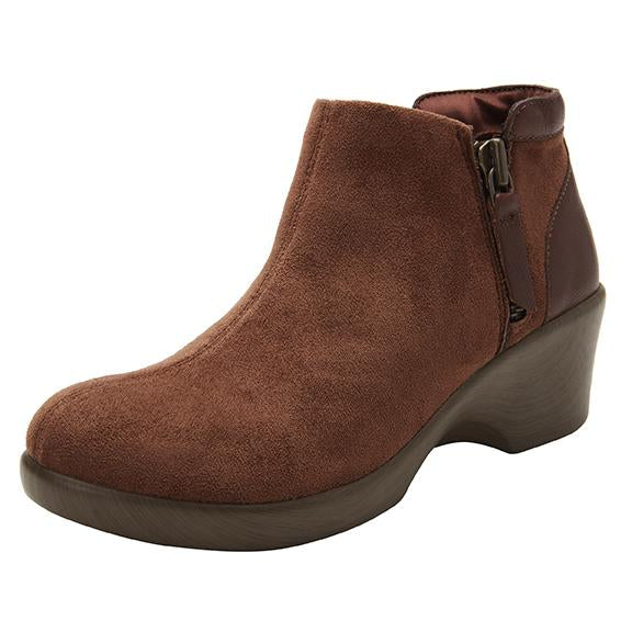 Sloan fashionable bootie on career fashion wedge in Brown Suede with Dream Fit™ upper - SLO-7923_S1
