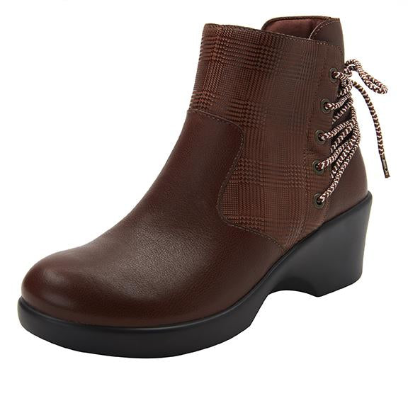 Stevee Plaidly Brown features a stylish zig-zag adjustable Lace-up detail with a side zip closure and contrast leather at the ankle and boot shaft - STE-7925_S1
