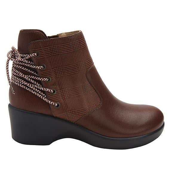 Stevee Plaidly Brown features a stylish zig-zag adjustable Lace-up detail with a side zip closure and contrast leather at the ankle and boot shaft - STE-7925_S2