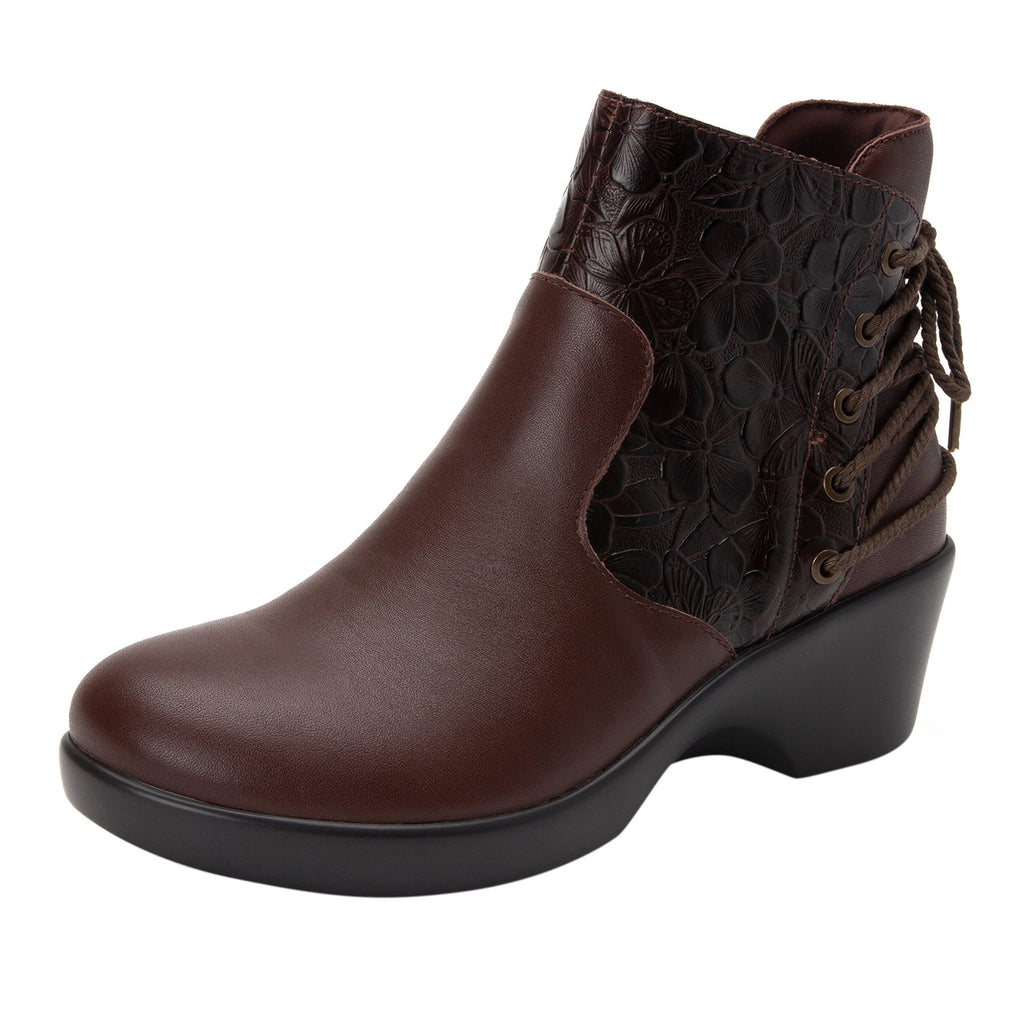 Stevee Cute Stuff Cocoa features a stylish zig-zag adjustable Lace-up detail with a side zip closure and contrast leather at the ankle and boot shaft - STE-796_S1